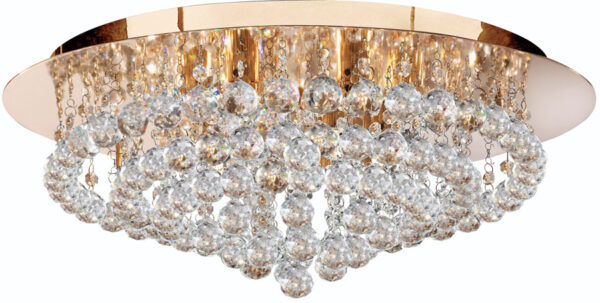 Hanna Gold 8 Light Large Flush Crystal Ceiling Light