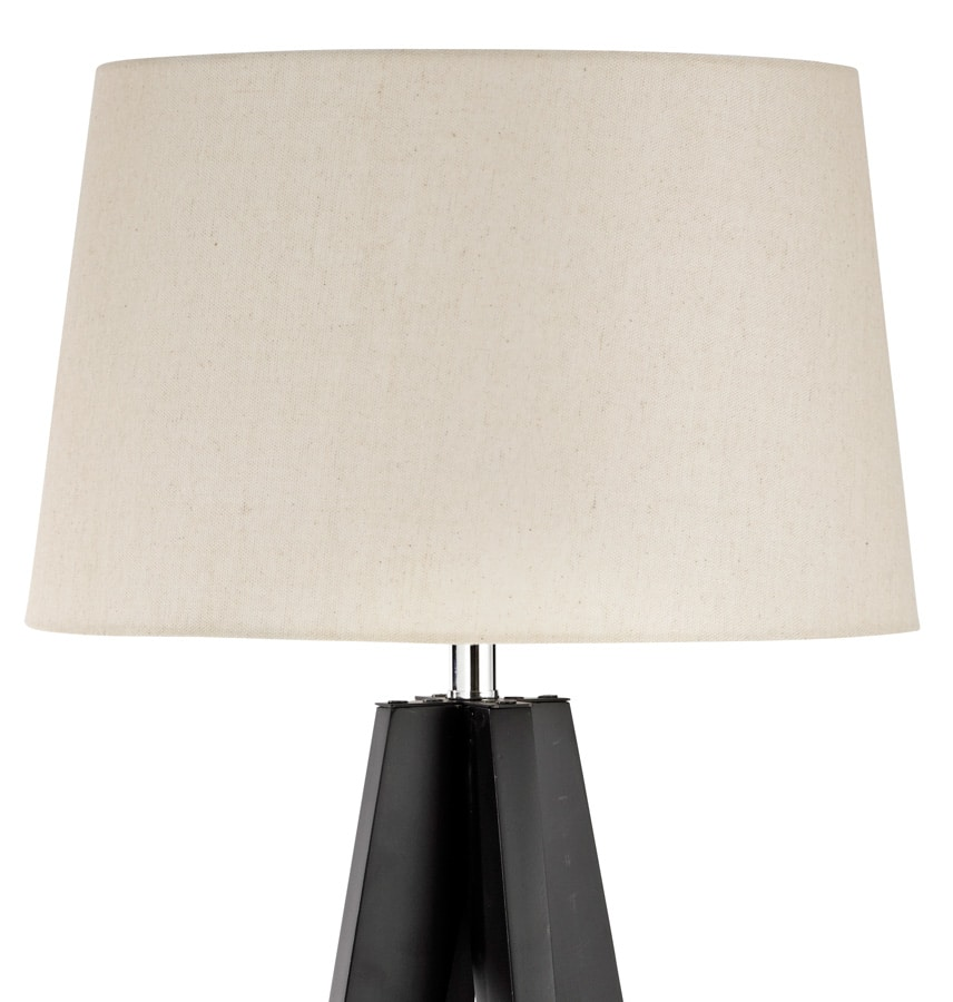 Tall Dark Wood Floor Lamp With Linen Lamp Shade 3540br