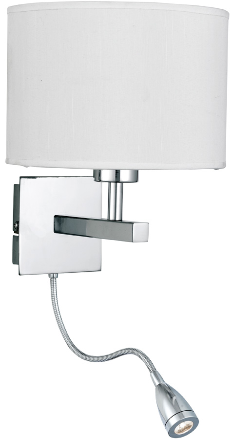 Switched Chrome Wall Light With LED Reading Lamp