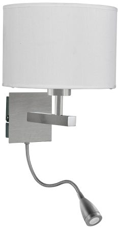 Satin Silver Switched LED Wall Light With Reading Lamp