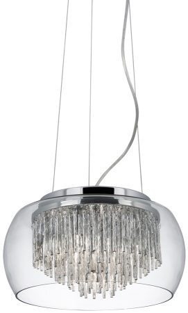 Curva 4 Lamp Chrome And Glass Ceiling Pendant Light