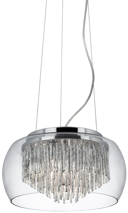 Curva 4 Lamp Chrome And Glass Ceiling Pendant Light