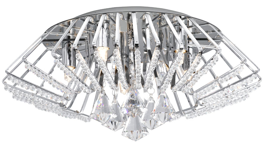 Modern Chrome And Crystal Flush Fitting Ceiling Light