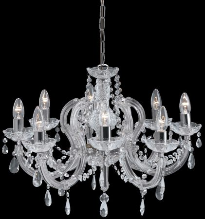 Marie Therese Chrome 8 Light Crystal Chandelier
