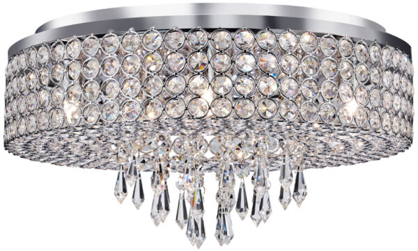 Orion Chrome And Crystal 9 Lamp Flush Ceiling Light