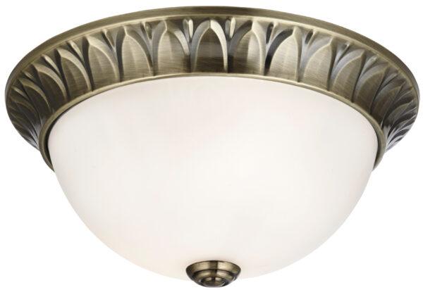 Small Antique Brass 2 Lamp Flush Ceiling Light