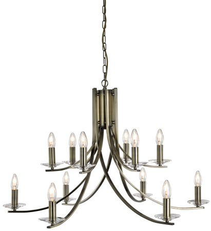 Ascona Large Modern Antique Brass 12 Light Twist Chandelier
