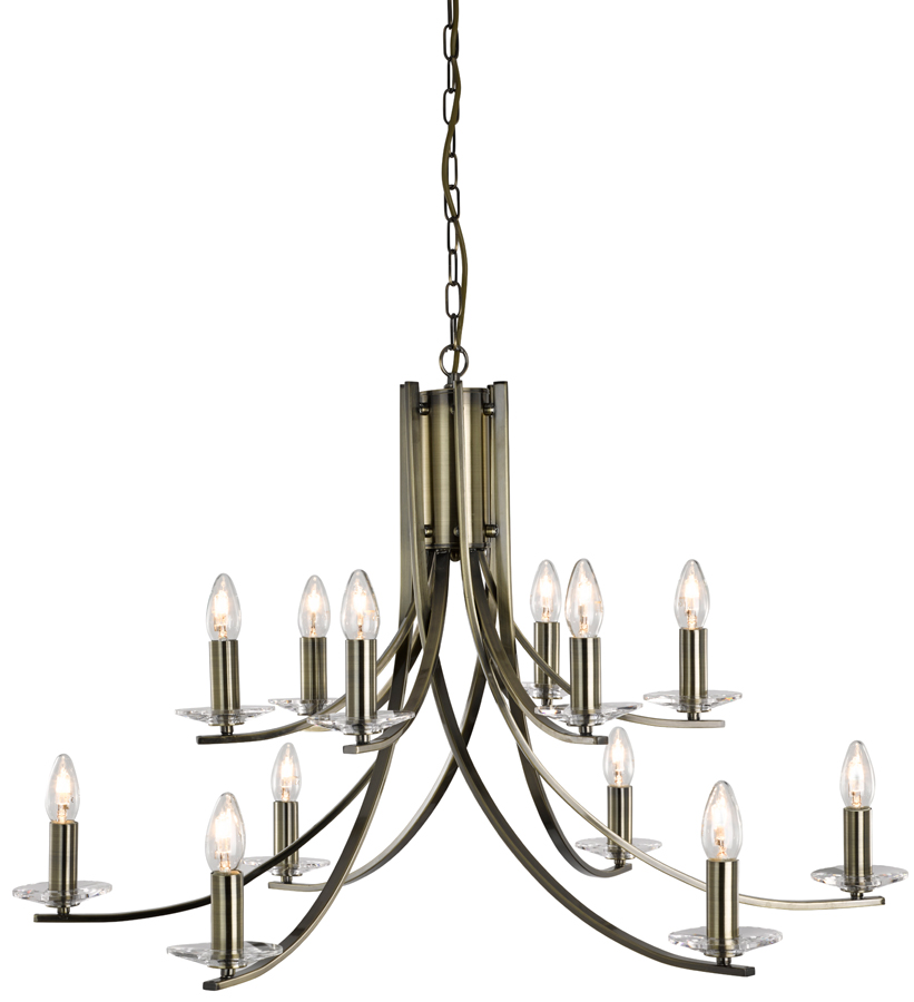 Ascona large modern antique brass 12 light twist for How to make a modern chandelier