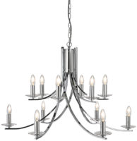 Ascona Large Modern Polished Chrome 12 Light Twist Chandelier
