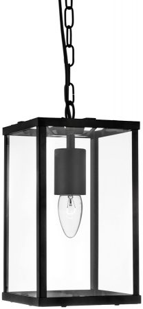 Voyager Matt Black Iron Rectangular 1 Light Hanging Lantern