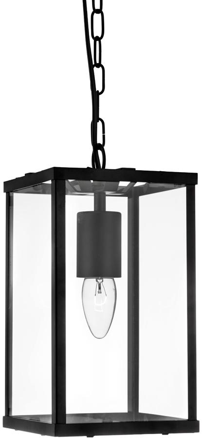 Voyager 1 Light Rectangular Hanging Lantern Black Clear Glass