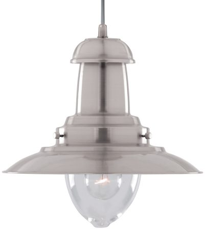 Fisherman Medium Satin Silver Nautical Ceiling Lantern Clear Glass