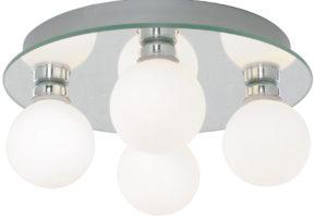 Traditional 4 Lamp Globe Flush Bathroom Ceiling Light