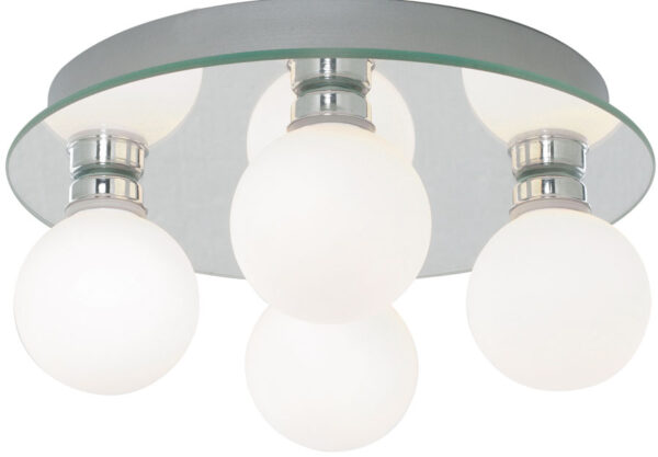 Traditional 4 Lamp Globe Flush Bathroom Ceiling Light