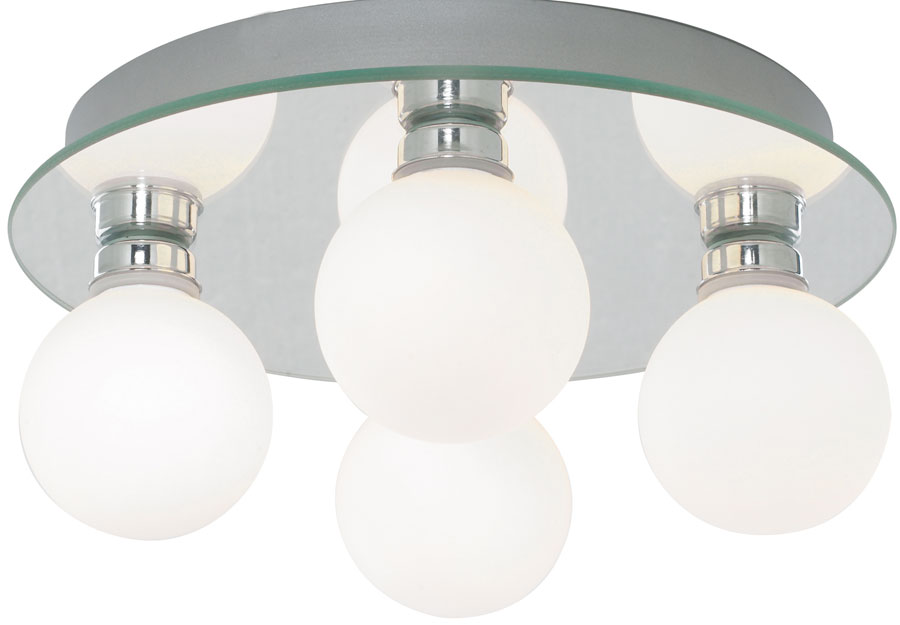 Traditional 4 Lamp Globe Flush Bathroom Ceiling Light 4337 4 Led