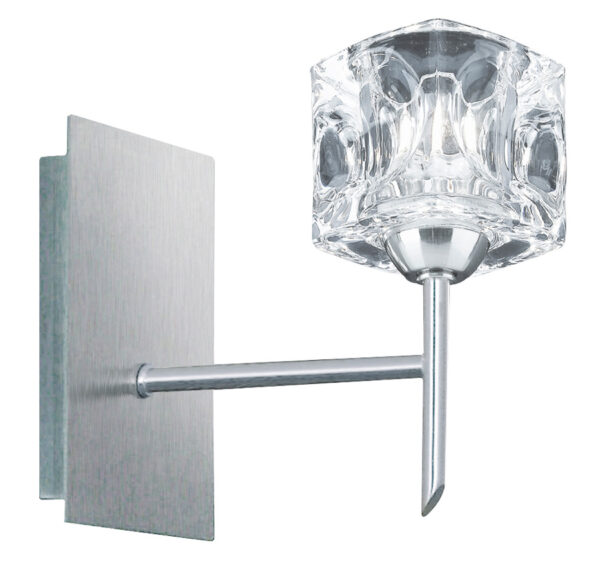 Satin Chrome Switched Single Ice Cube Wall Light