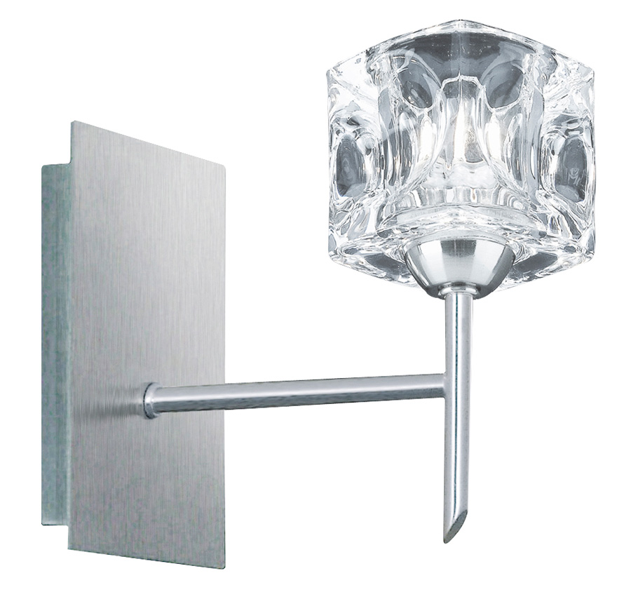 Wall Lights Satin Chrome : Satin Chrome Switched Single Ice Cube Wall Light 4341-1