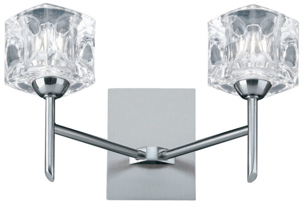 Satin Chrome Switched 2 Lamp Ice Cube Wall Light