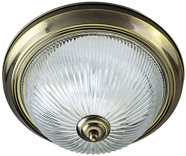 Traditional Antique Brass Flush Ceiling Light IP44