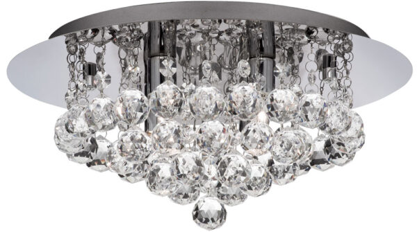 Hanna Chrome 4 Light Flush Bathroom Crystal Ceiling Light