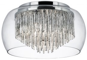 Curva 4 Lamp Chrome And Glass Flush Ceiling Light