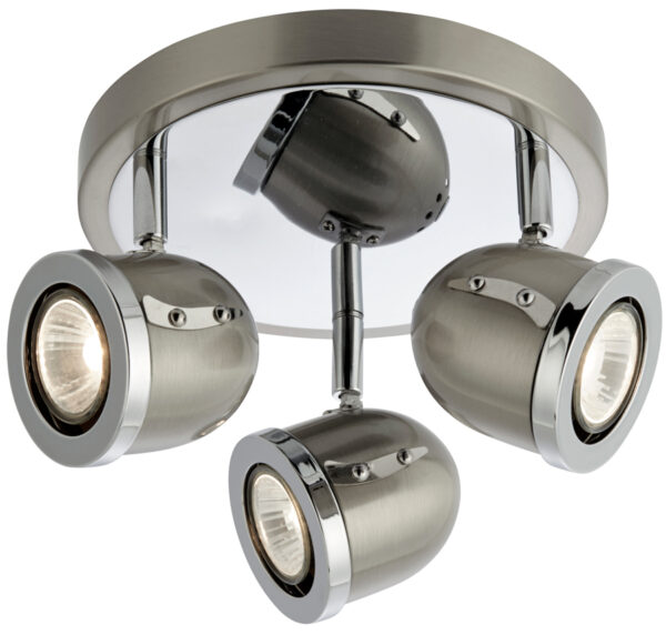 Palmer Satin Silver 3 Light Ceiling Spotlight Plate Chrome Trim