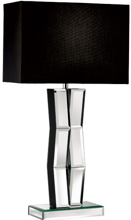 Modern Mirrored Table Lamp With Black Fabric Shade