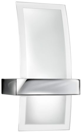 Modern Chrome And Frosted Glass Curved Wall Light