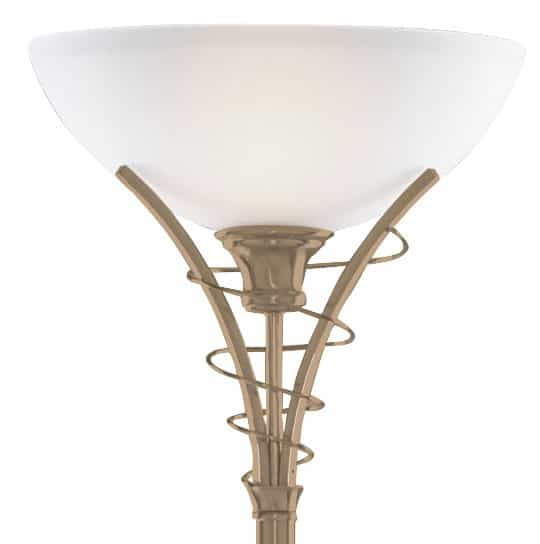 Linea Antique Brass Floor Lamp Uplighter With Opal Glass 5222AB