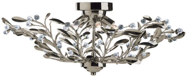 Lima Antique Brass 6 Light Semi Flush Fitting With Crystal Balls