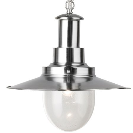 Fisherman Large Satin Silver Pendant Lantern With Seeded Glass