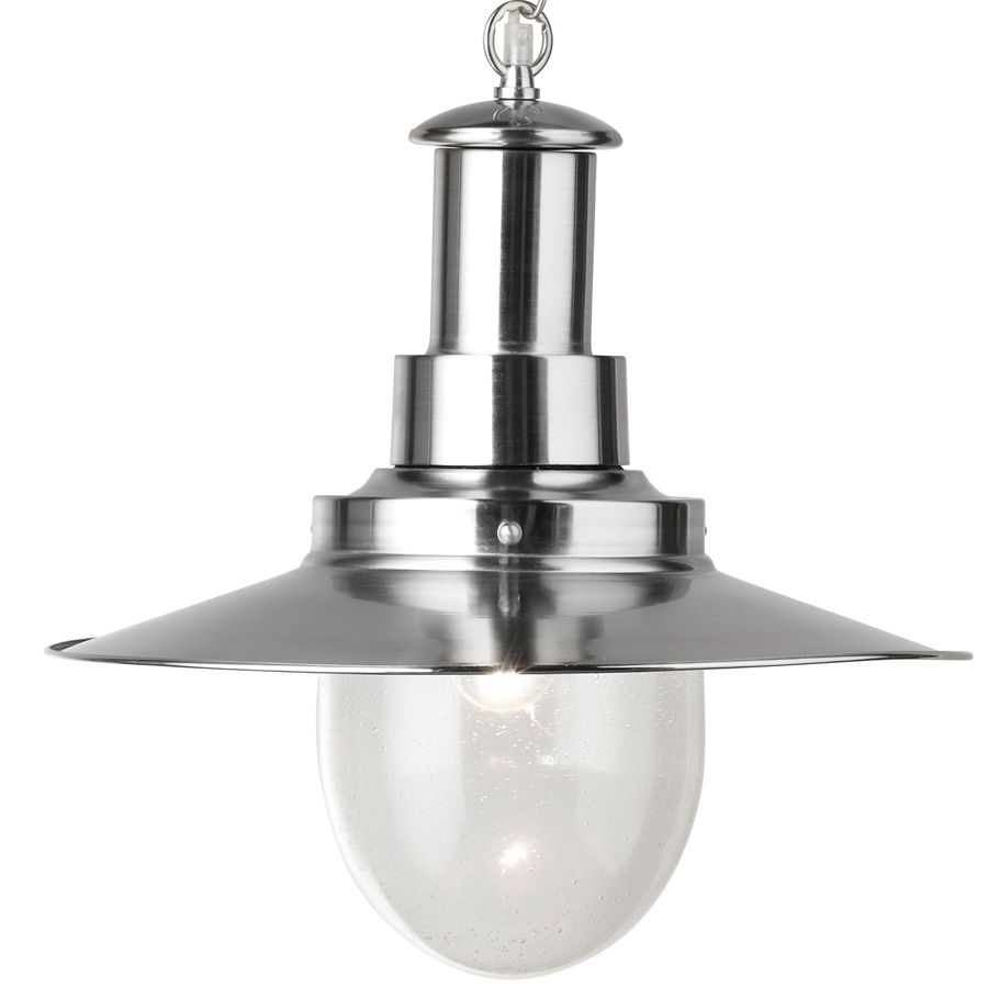 Fisherman Large Satin Silver Pendant Lantern With Seeded