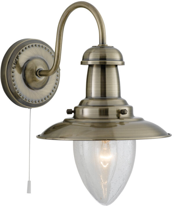 Fisherman Wall Light Seeded Glass Shade Pull Switch Antique Brass