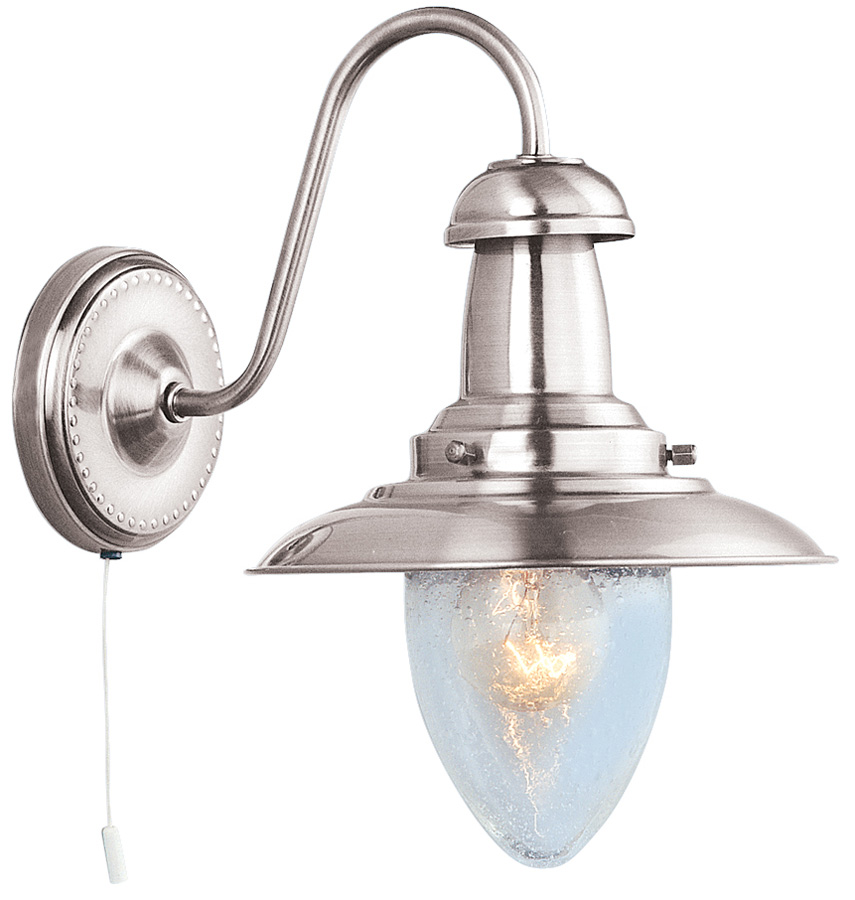 Self Switched Wall Lights : Fisherman Wall Light Seeded Glass Shade Pull Switch Satin Silver