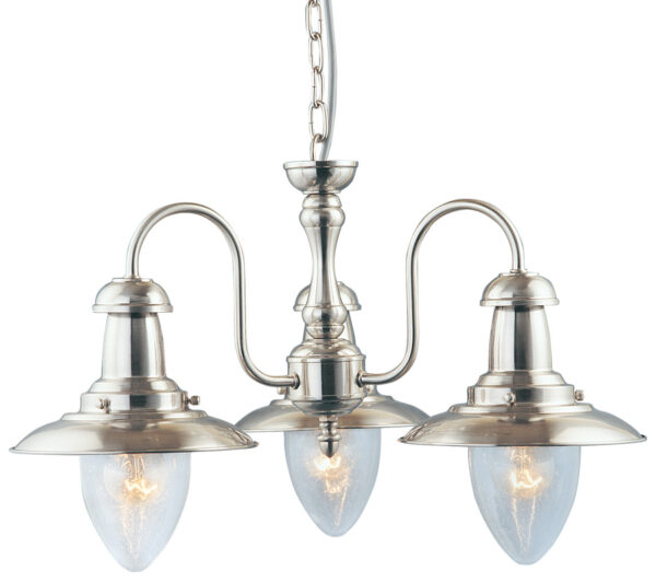 Satin Silver 3 Lamp Fisherman Ceiling Light