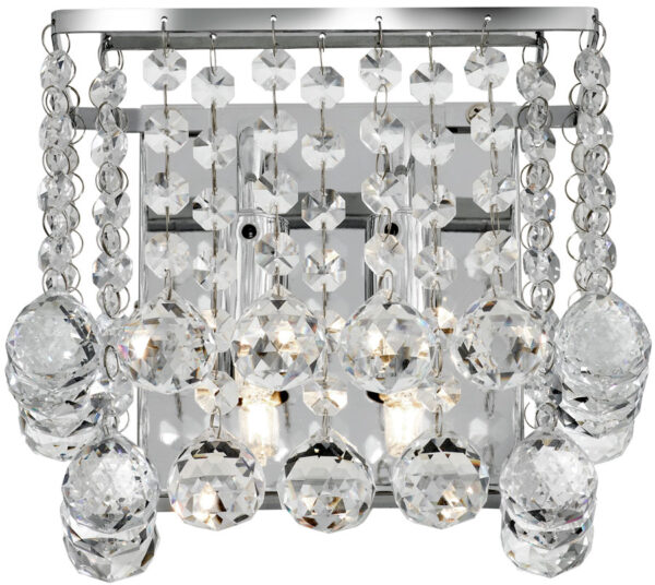 Hanna Square Chrome 2 Lamp Crystal Wall Light
