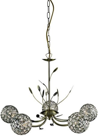 Bellis II Antique Brass 5 Light Chandelier With Clear Glass Shades