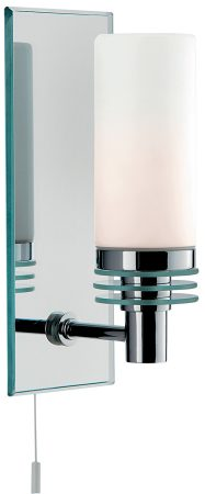 Modern Chrome Bathroom Wall Light With Pull Cord