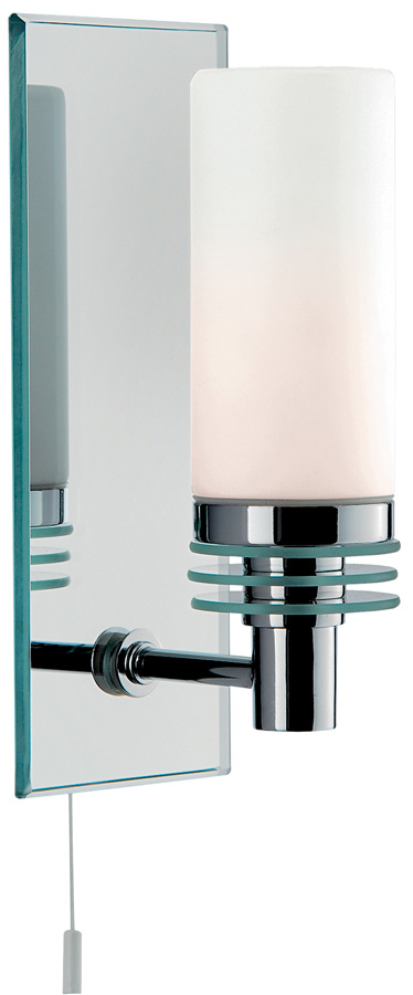 Chrome Wall Lights With Pull Cord : Modern Chrome Bathroom Wall Light With Pull Cord 5611-1CC-LED