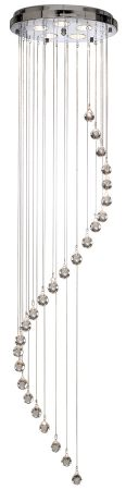 Hallway Chrome Spiral 5 Light Long Drop Crystal Stairwell Pendant