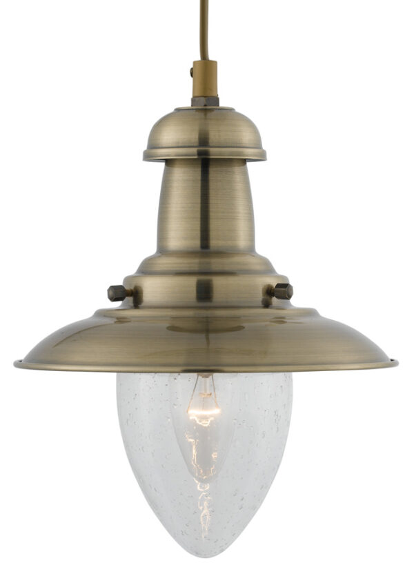 Fisherman Small Nautical Antique Brass Ceiling Lantern Seeded Glass