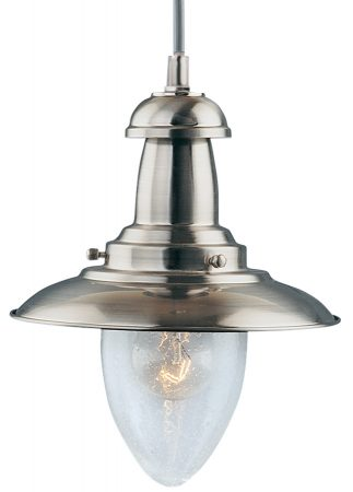 Fisherman Small Nautical Satin Silver Ceiling Lantern Seeded Glass