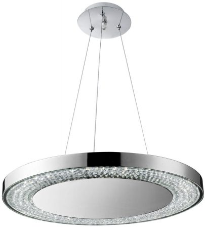 Modern Chrome Disc And Crystal LED Ceiling Pendant
