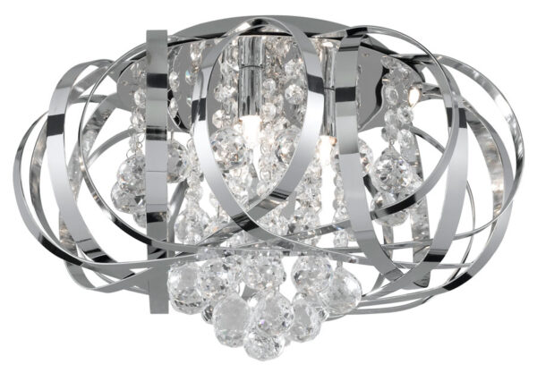 Tilly Modern Chrome Ribbon Flush 3 Light Crystal Fitting