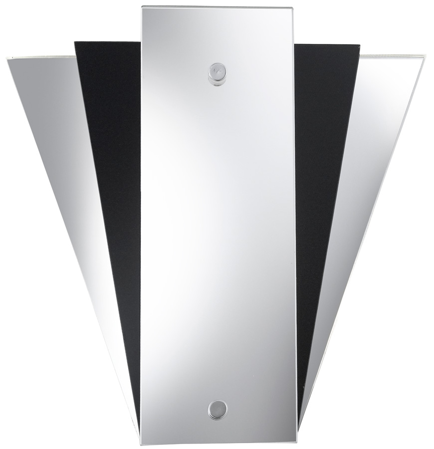 Deco Style Wall Lights : Mirror Chrome And Black Art Deco Style Wall Light Searchlight 6201BK