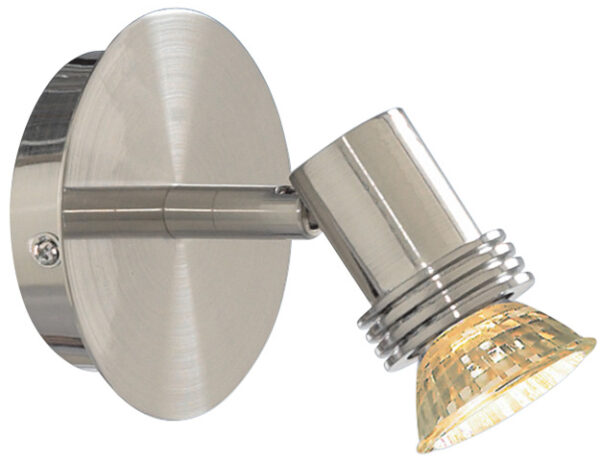 Decco Satin Silver Single Switched Wall Spotlight