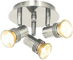 Decco Satin Silver Mini 3 Light Ceiling Spotlights