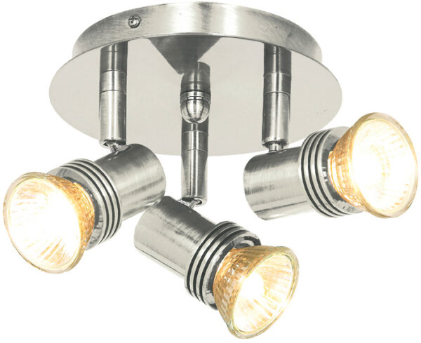 Decco Satin Silver Mini 3 Light Ceiling Spotlights