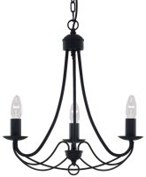 Maypole Bird Cage 3 Lamp Black Iron Ceiling Light