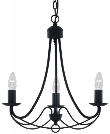 Maypole Bird Cage 3 Lamp Black Iron Ceiling Light